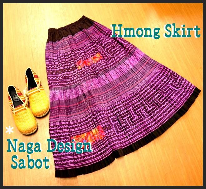 モン族ロングスカート/プリーツスカート/エスニックファッション