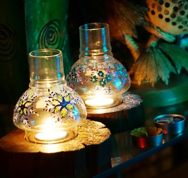 キャンドルホルダー/丸太のキャンドルホルダー/ガラス付き