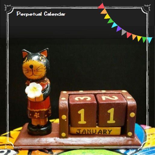 バリ島木彫りの万年カレンダー/木彫りアニマルの万年カレンダー