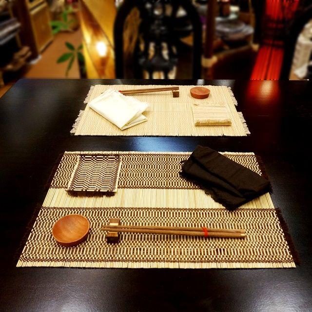 ランチョンマット&箸&箸置き&コースター&豆皿&ナプキンの6点セット/アジアンキッチン雑貨