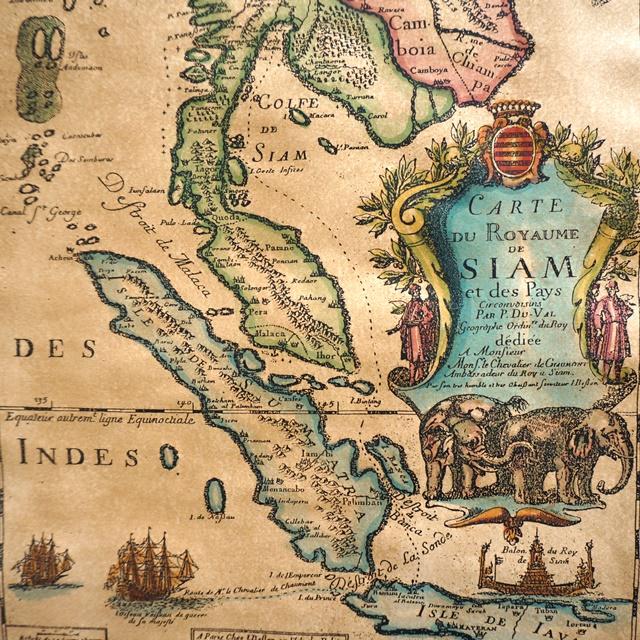 タイ古地図 レプリカ/アンティーク地図 ポスター