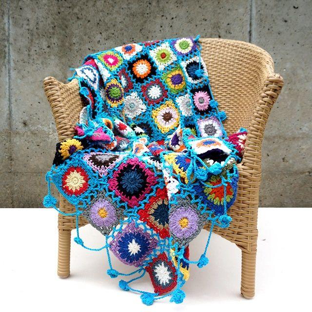 手編みフラワーモチーフ・パッチワーク