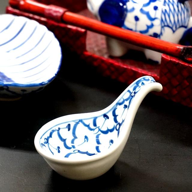 ブルー&ホワイト/蓮華/タイ食器/アジアンキッチン雑貨