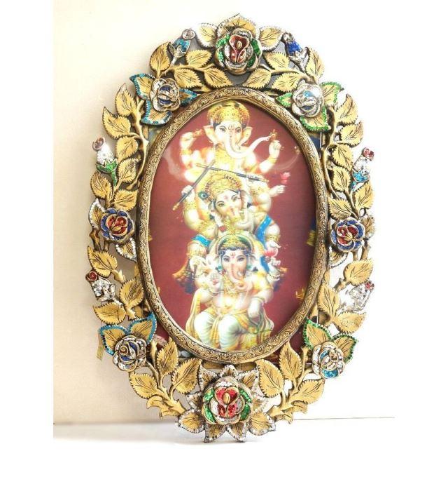 ガネーシャ神3D絵画/キラキラビーズ飾りのフレーム付き