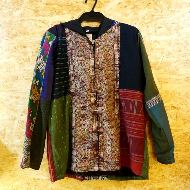 ラオス浮き織り パーカー/民族・エスニックファッション