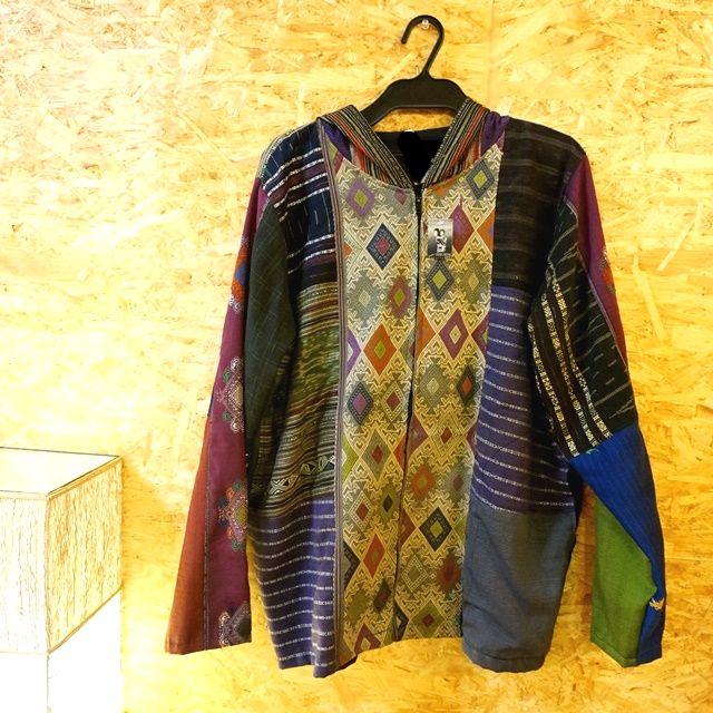 ラオス浮き織り パーカー/エスニックファッション/民族衣装