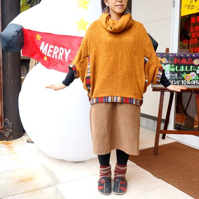 ふんわり暖かポンチョ/ニットアウター&無地ロンT/エスニックファッション