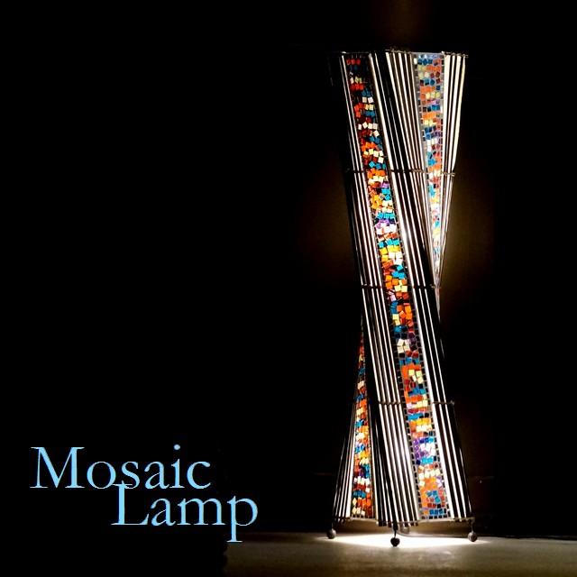 モザイクガラスのランプ/フロアランプ