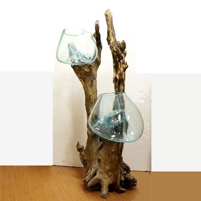 ガラスと流木のオブジェ/アジアンインテリア