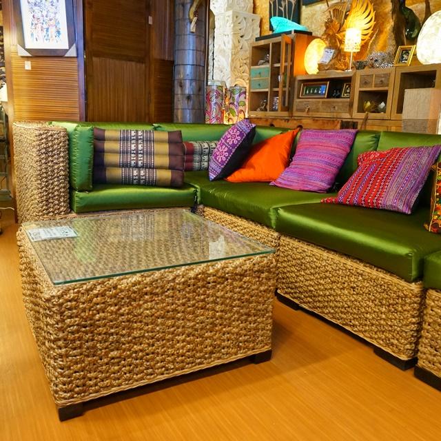ソファ&ガラステーブルセット/アジアンリゾート家具