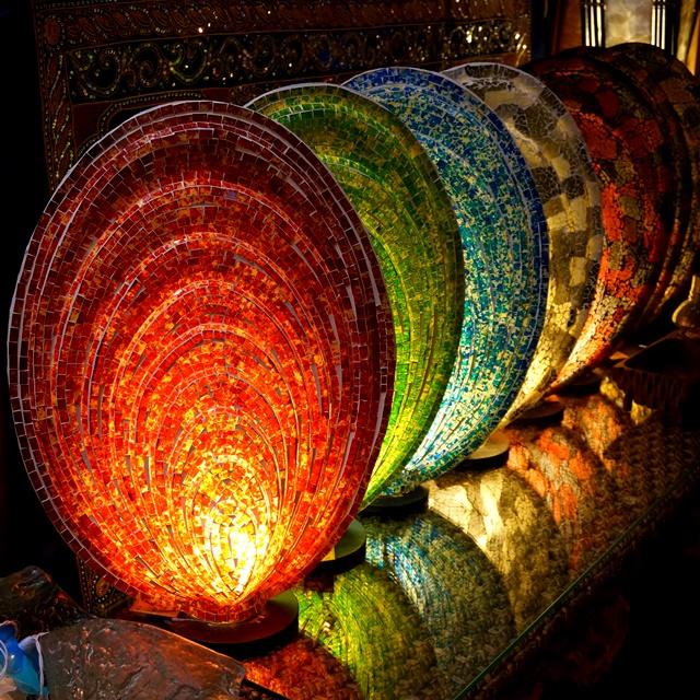 ガラスモザイクのテーブルランプ/アジアンリゾートインテリア