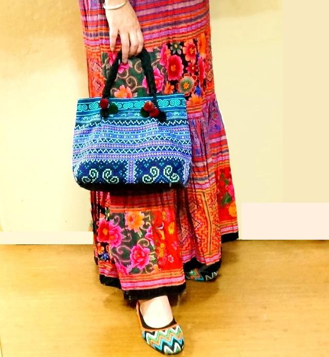 モン族バッグ/ハンドバッグ/少数民族刺繍バッグ/エスニックファッション
