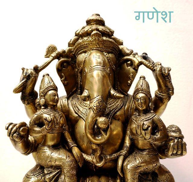 ガネーシャ&シヴァ&パールバティ/ヒンドゥー教仏像 真鍮製