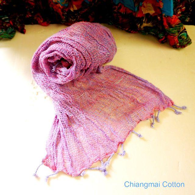 チェンマイコットンの草木染めショール/エスニックファッション