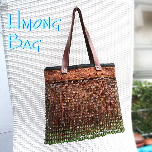 モン族総刺繍&フリンジビーズのバッグ