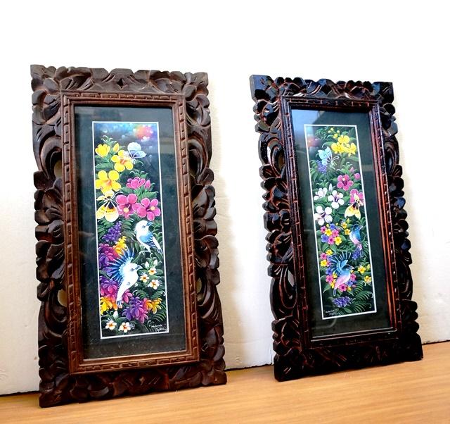 バリ絵画/花と鳥/額縁・ガラスつき