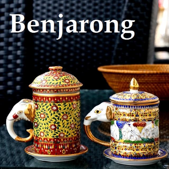 ベンジャロン焼きの蓋つきマグカップ