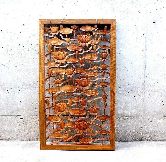 アートパネル 木彫り ロータス