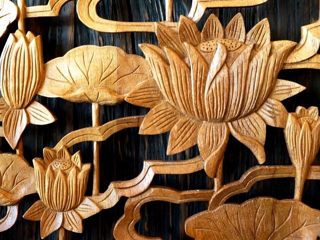 アートパネル/木彫り/ロータス柄