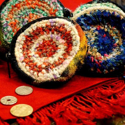小銭入れ ネパールウール 手編み