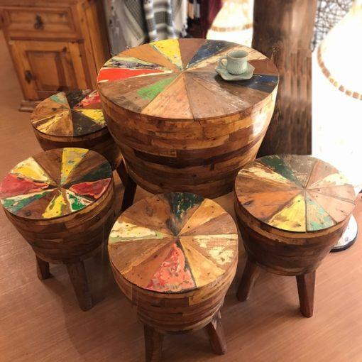 ボート家具/チークカフェテーブルセット