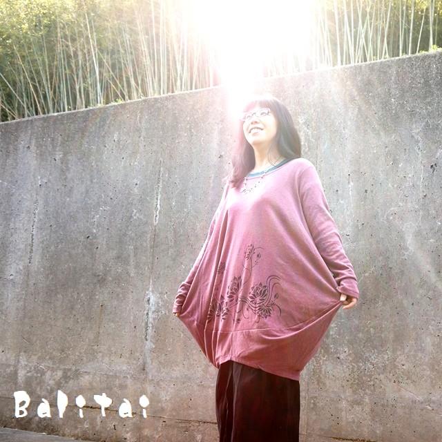 ロータス柄コクーンワンピース/エスニックファッション