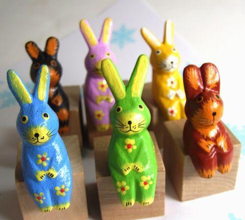 ウサギ木彫り バリ雑貨