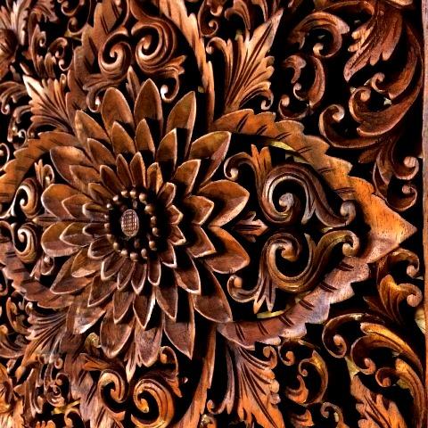 チーク木彫りアートパネル